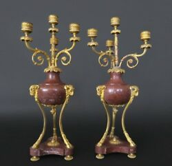 Pair Of Red Marble And Bronze Candlesticks