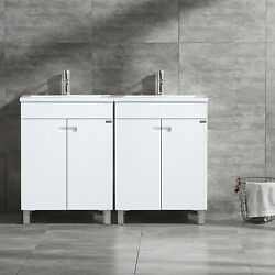 48 Bathroom Vanity Double Cabinet W/ Basin Sink And Faucet Set Wood Glossy White