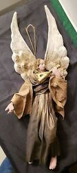 Vintage Large Italian Cartapesta Paper Mache Angel Christmas Ornament - As Is