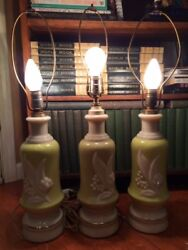 3 Aladdin Alacite Electric Lamp Bases Lily Of The Valley Chartreuse Finials 1930