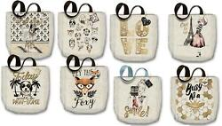 Punch Studio Molly Rex Home Travel Fabric Shopping Canvas Tote Bag Choose Design