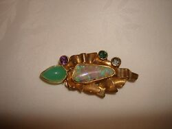 Vtg 18k  22k Yellow Gold Boulder Opal Multi Stones Ivan Hand Made Brooch Pin