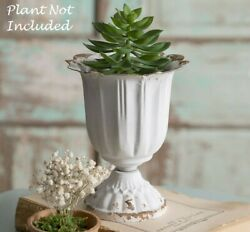 NEW CHIPPY WHITE Scalloped Cup Pot Container Cottage French Planter 5.75quot; T