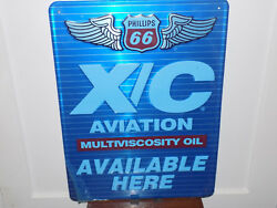 Phillips 66 X/c Aviation Oil Embossed Metal Nos Sign
