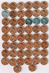 1 Roll50 Coins Collection Of Bu Lincoln Wheat Cents. 1940-p-1949-s. See List.