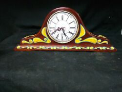 Hand Painted Circus Style Mantle Clock,odd,psychedelic,ooak,weird,oddity,art,wow