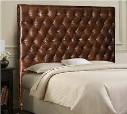 Queen Size Chesterfield Headboard In Genuine Brown Leather With Deep Tufting