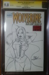 Wolverine Best There Is 1 White Queen Sketch Sign Neal Adams Blank Cover Cgc 9.8