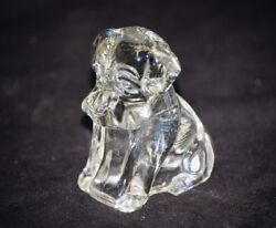Old Vintage 1940s Depression Clear Glass Mopey Puppy Dog Candy Container Federal