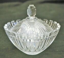 Mikasa Marquette Clear Crystal Candy Dish Trinket Box Ribbed Art Deco Style