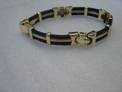 Vintage Collectible Unisex Beautiful 14kt Yellow Gold Rubber Bracelet 8 Length