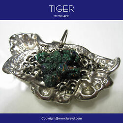 Necklace With Malachite Original Tiger Hand Made With Certificate One Only