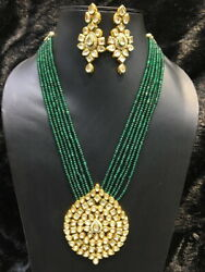 Babosa Sakhi Combo of Green Onyx Kundan Necklace & Antique Ethnic Necklace ksks0