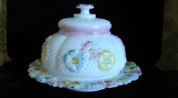 Eapg Consolidated Lamp And Glass Painted Opaque Cosmos Stemless Daisy Butter Dish