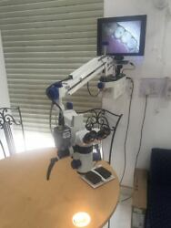 5 Step Mag Ent Wall Mount Surgical Microscope With Accessories And Led Monitor