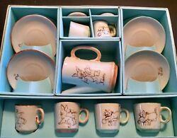 Vintage Childs Tea Set Cute Cats And Bunnies Hand Paint Made In Japan Original Box