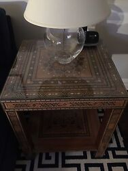 Wooden Mosaic Moroccan Style Side Tables 2 With Custom Made Glass Top