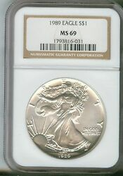 1989 Silver American Eagle Ngc Ms-69 1793816-031