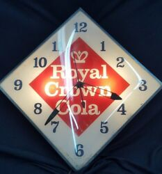 Vintage Pam Clock Co. Royal Crown Cola Large Square Electric Wall Clock