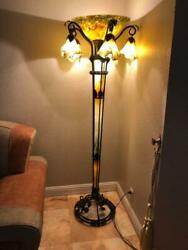 ART DECO  STYLE HANDMADE WROUGHT IRON FLOOR LAMP & GLASS SHADES  AND GLASS TUBE