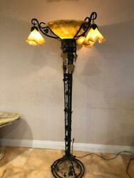 Vintage Handmade Wrought Iron Floor Lamp And Glass Shades