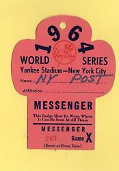 1964 World Series Gm 3 Mickey Mantle Hr 16 Ticket Pass Tops Babe Ruth Record Ex
