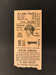 1972 Ticket Oct 1 Roberto Clemente 3000 Hit Ceremony Gets Ball Trophy Thanks Fan