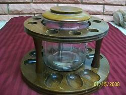 Vintage 9 Pipe Holder/stand With Glass Humidor And Aztec Clay Moistener Preowned