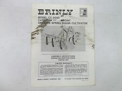 Brinly Model Cc-2050 3-point One Row Spring Shank Cultivator Manual