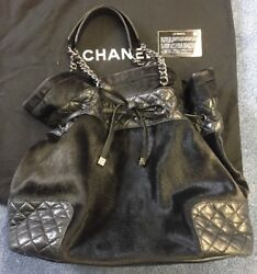 Authentic Chanel Black Bucket Horsehair Quilted Calf Skin Leather Shoulder Bag $850.00