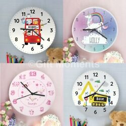 Childrens Personalised Bedroom Wall Clocks - Boys And Girls, 19 Designs, For Kids
