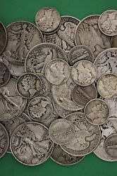 Make Offer 3 Troy Pounds Silver Mercury Walking Liberty Half Dollars Junk Coins