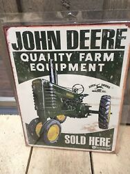 Vintage Style John Deere Quality Farm Equipment Sold Here Sign