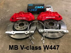 Brembo Bbk Front For Mersedes-benz V-class W447 6pot Red 355x32 Slot Rotor Disk
