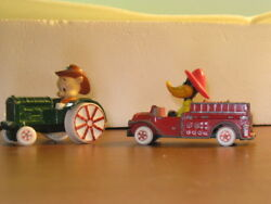 Daffy Duck Fire Truck Porky Pig Tractor Looney Tunes 1988