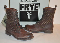 New $358 Frye Jenna Disc Lace Leather Dark Brown DISTRESSED Mid Calf Studded