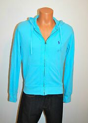 New 98 Polo Zip Up Hoodie Bright Blue/purple Pony S Small