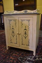 Vintage Painted Cabinet Cupboard Cream with Blue Stencil