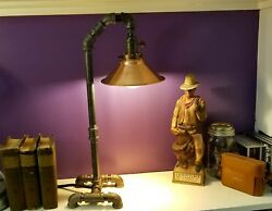 Industrial Style Desk Lamp With Copper Shade And Edison Bulb