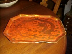 Old Kutani Red Plate Or Tray Signed Ai Hua Gold Dragon