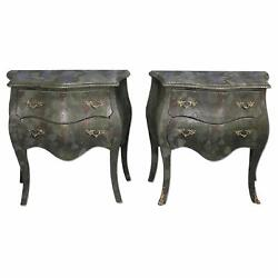 2 Louis XV Faux Snakeskin Bombe Chests Side End Table Commode Console Nightstand