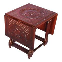 Hand Carved Mahogany Drop Leaf Gateleg Table Vintage Modern Console Side Coffee