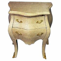 Louis XV Faux Crocodile Skin Side End Table Bombe Chest Commode Nightstands