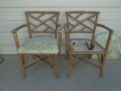 Pair Captain Bamboo Chairs Chinese Chippendale Fretwork Hollywood Regency 2 Of4