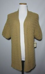 Coldwater Creek Cable Mix Cardigan M 10-12 Camel NWT Open Front Wool Blend