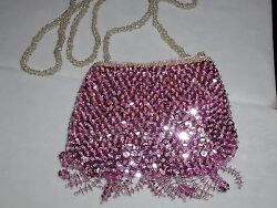 SEQUIN PINK PURSE SMALL EVENING BAG FRINGE FOR PROM WEDDING FORMAL NEW $14.95