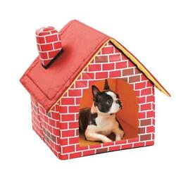 Removable Washable Red Brick Pet House Cat Dog Bed Nest Kennel Cattery Tent