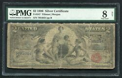 """Fr. 247 1896 2 Two Dollars """"educational"""" Silver Certificate Pmg Very Good-8"""