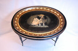 19th Century, English Regency Oval Papier Mâché Tray On Black Lacquered Base