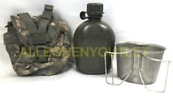 Us Military 3 Pc Set 1qt Od Canteen W Molle Acu Pouch Cover And New Stainless Cup
